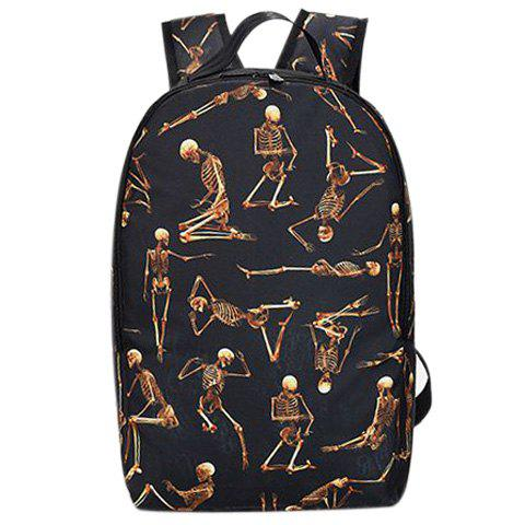 Stylish Zippers and Skeleton Pattern Design Women's Backpack - BROWN