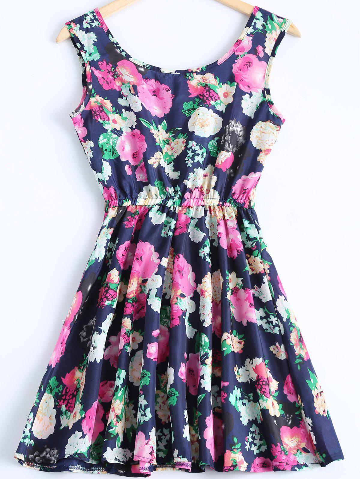 Cute Floral Print Sleeveless Chiffon Dress For Women