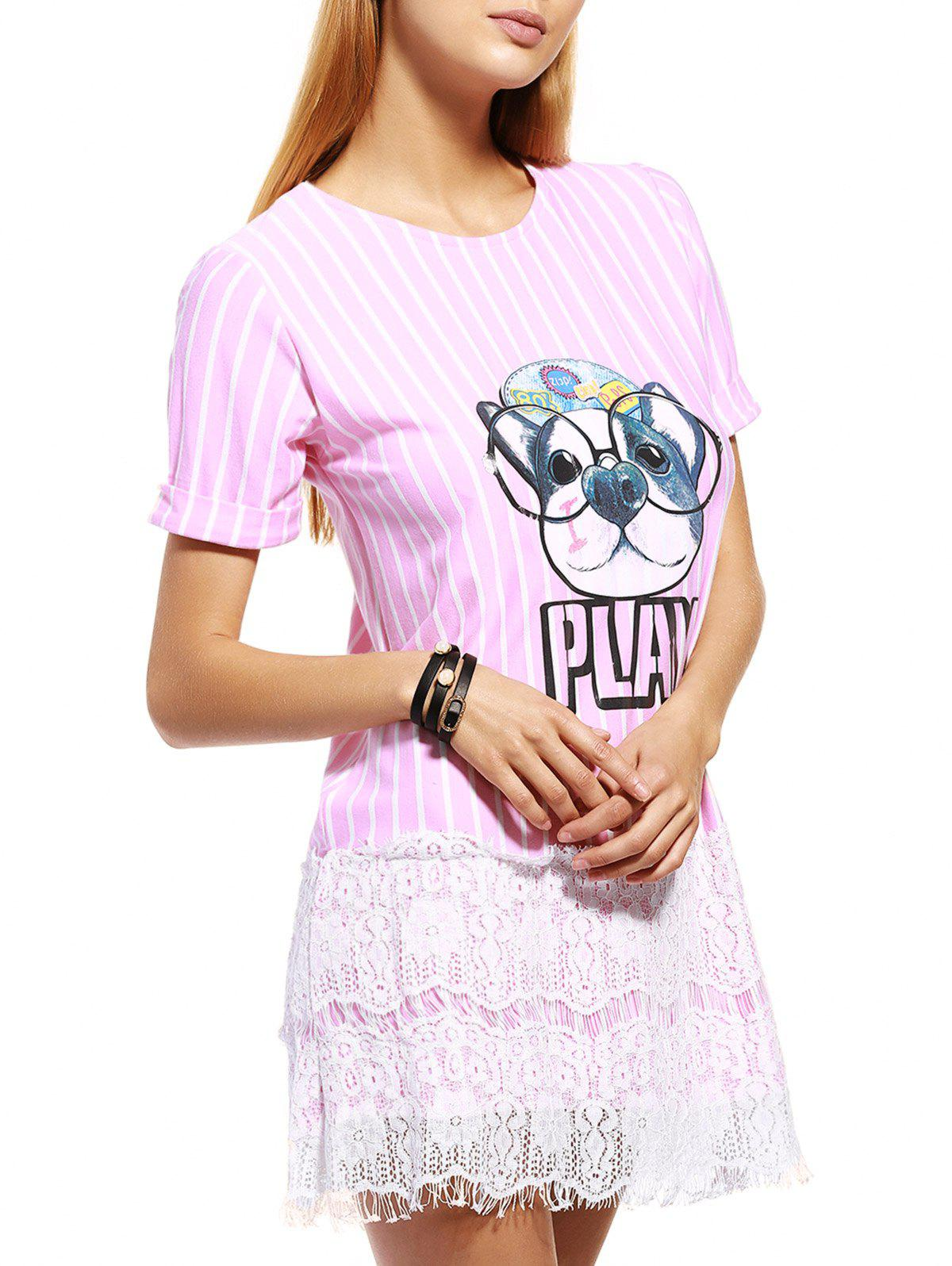 Casual Puppy Striped Lace Spliced Women's T-Shirt Dress - PINK M