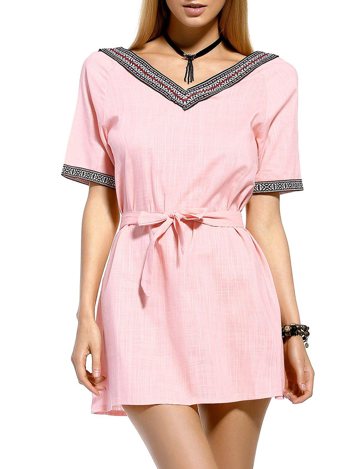 Brief Bowknot Tie Belted Spliced Women's Dress - PINK M