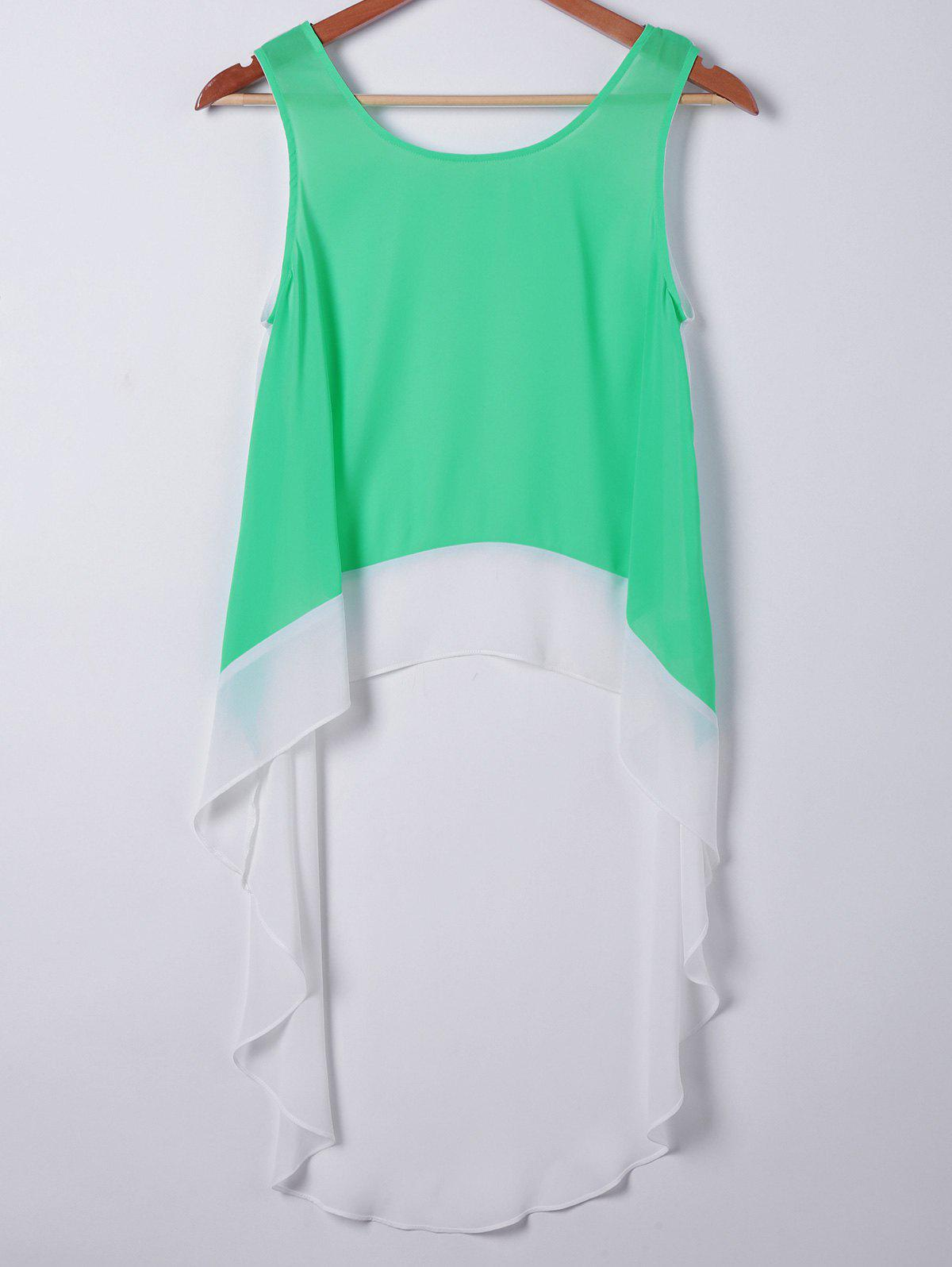 Casual Women's Loose-Fitting Round Neck Sleeveless Top - APPLE GREEN M