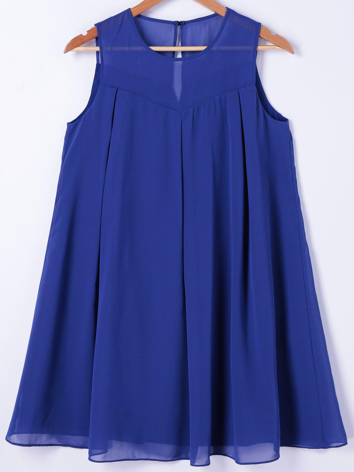 Fashionable Women's Round Neck Sleeveless Solid Color Dress - BLUE M