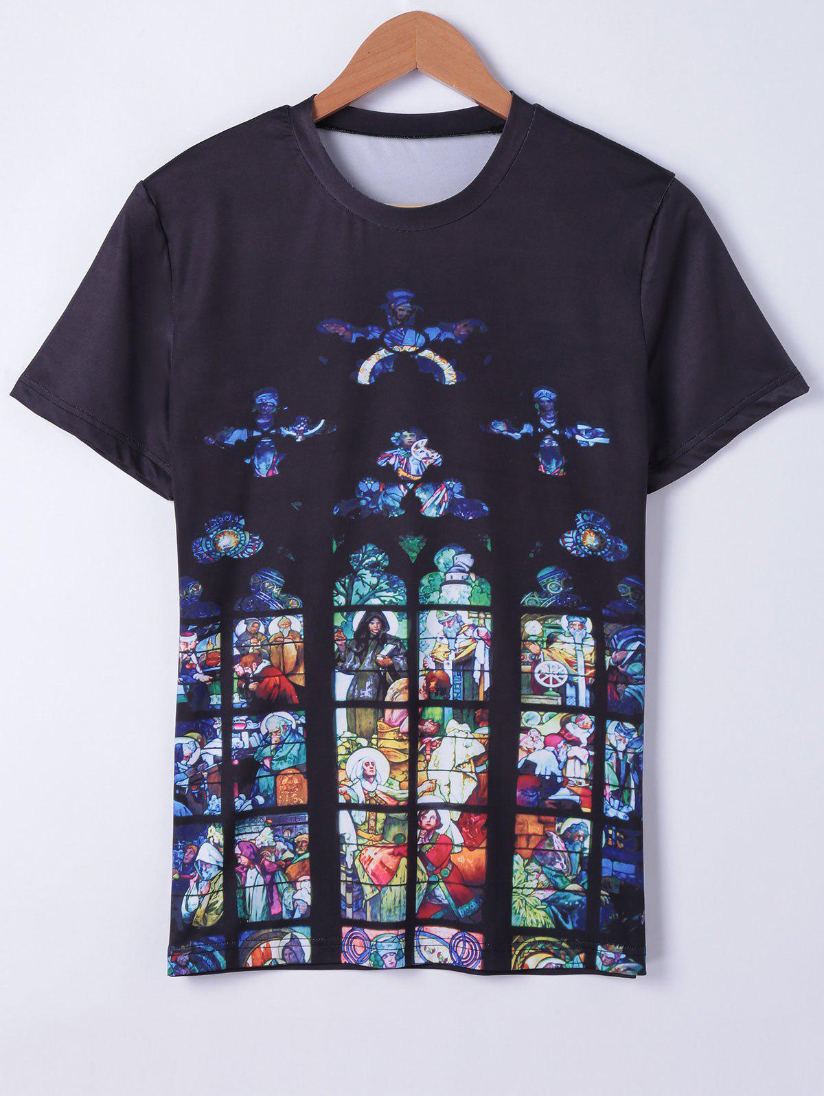 Fashionable Round Neck Oil Painting Printing Short Sleeves T-Shirt For Men - BLACK XL
