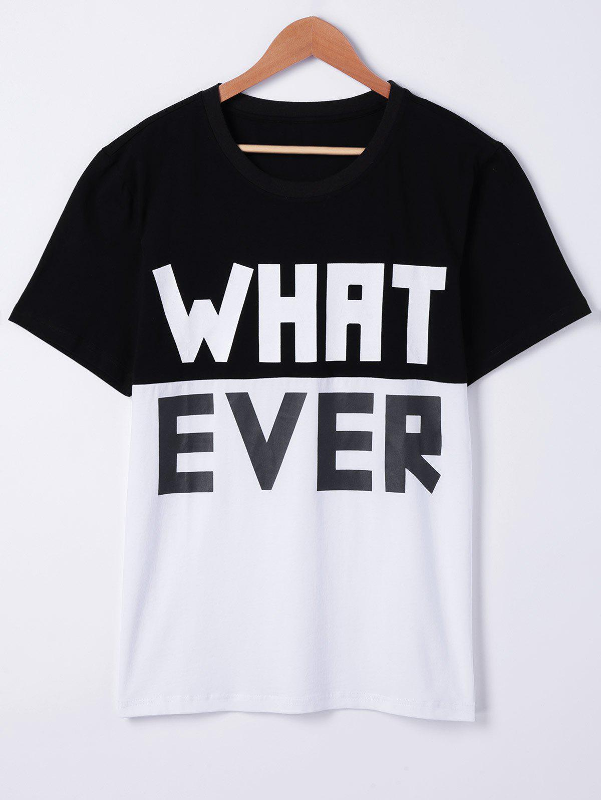 Fashionable Round Neck Color Block Loose Character Printing Short Sleeves T-Shirt For Men - WHITE XL