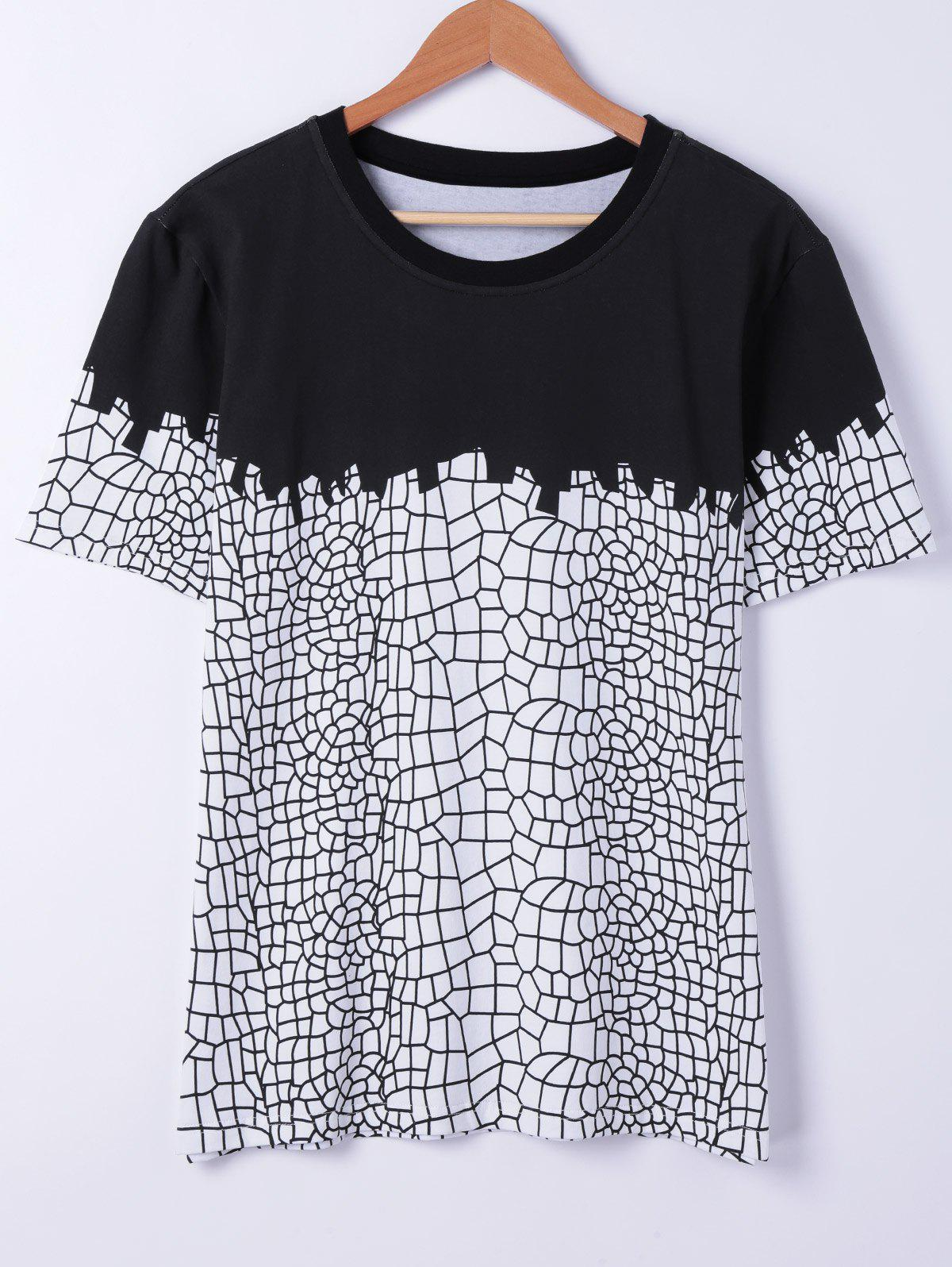 Stylish Round Neck Net Structure Printing Short Sleeves T-Shirt For Men - BLACK XL
