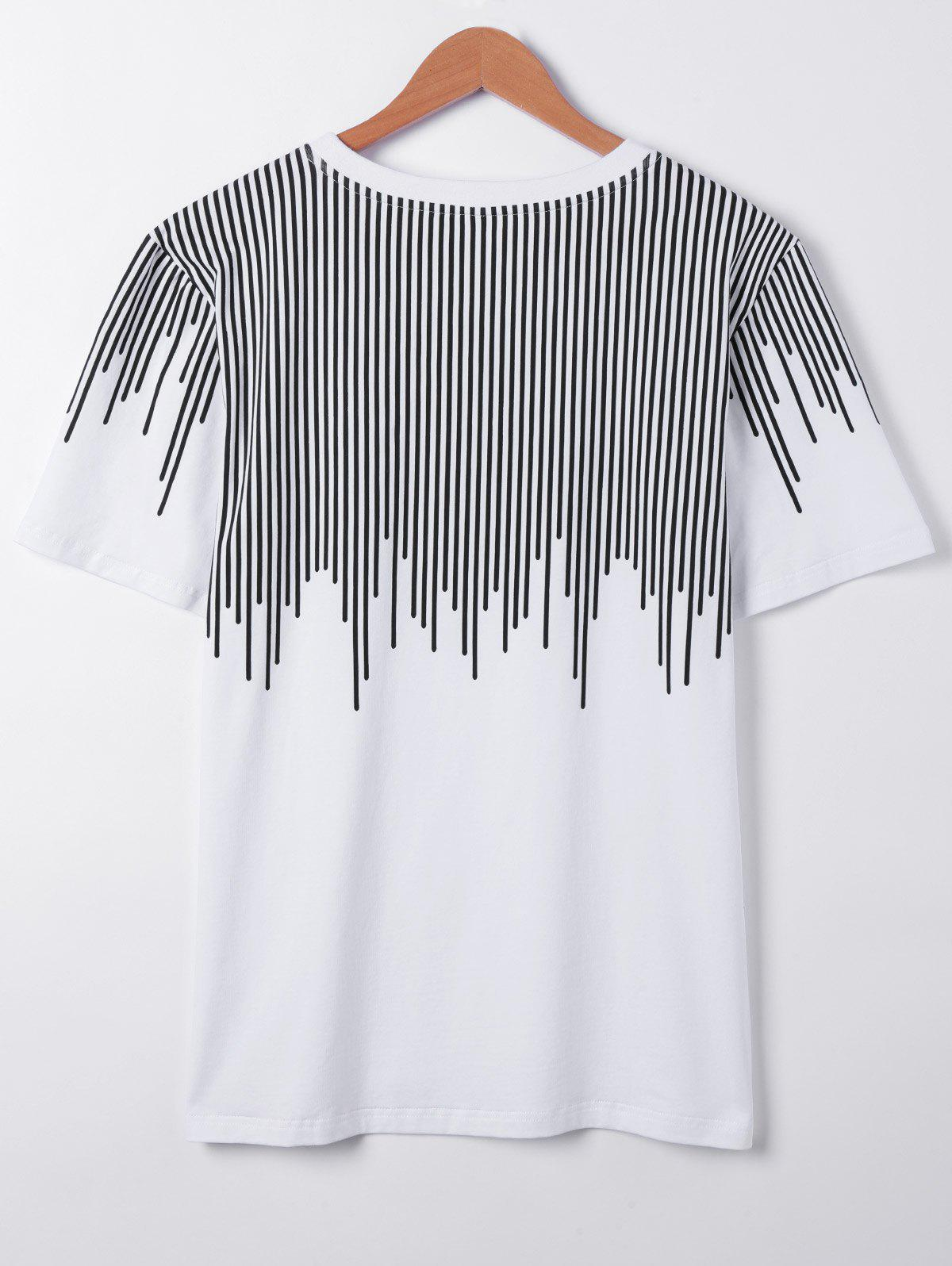 Casual Round Collar Asymmetric Stripe Printing Short Sleeves T-Shirt For Men - WHITE XL