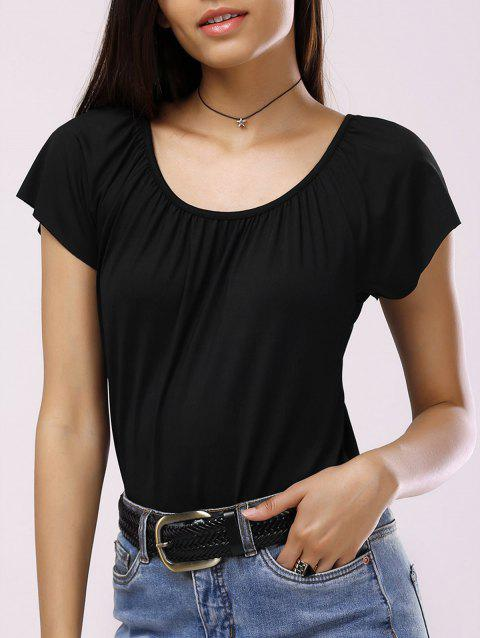 Brief Scoop Neck Solid Color Pleated Women's T-Shirt - BLACK M
