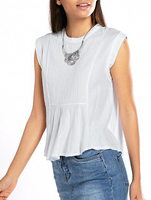 Sleeveless Crinkle Peplum Blouse - WHITE ONE SIZE(FIT SIZE XS TO M)