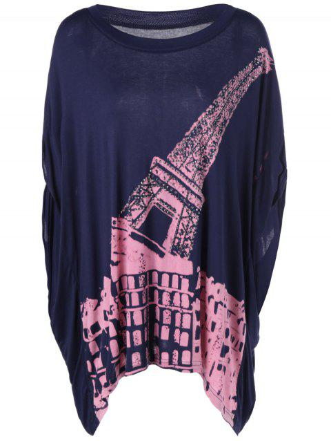 Femmes Casual  's col rond Imprimer manches courtes Top - Bleu Violet ONE SIZE(FIT SIZE XS TO M)