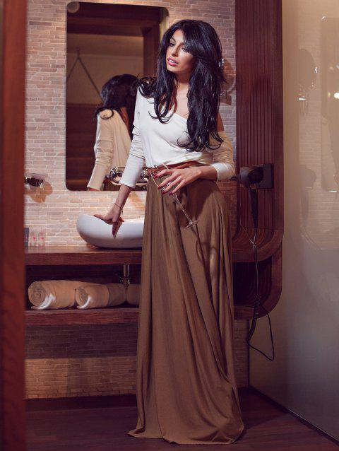 031ab0208e3 41% OFF  2019 Alluring Skew Neck Long Sleeve Backless Maxi Draped ...