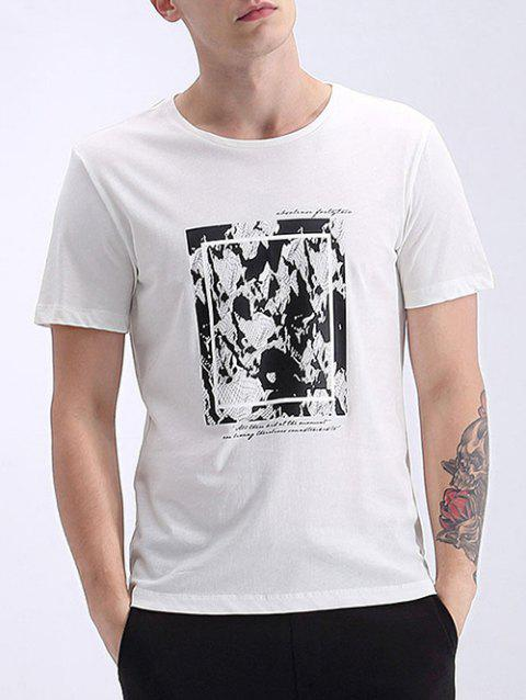 Men's Refreshing Round Neck Abstract Print Short Sleeves T-Shirt - WHITE XL