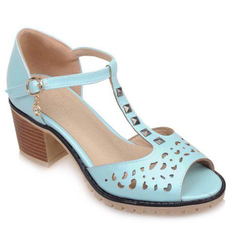 Hollow Out Studded T-Strap Sandals - LAKE BLUE 37
