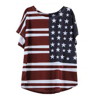 Short Sleeve Round Neck Flag Pattern T-Shirt
