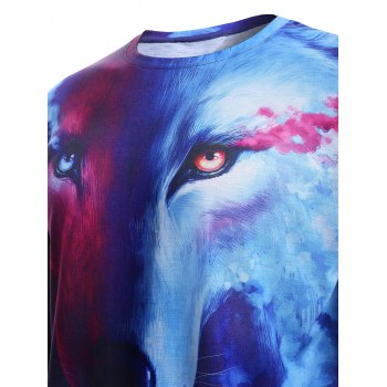 3D Starry Sky and Wolf Print Round Neck Short Sleeve Men's T-Shirt - COLORMIX 2XL