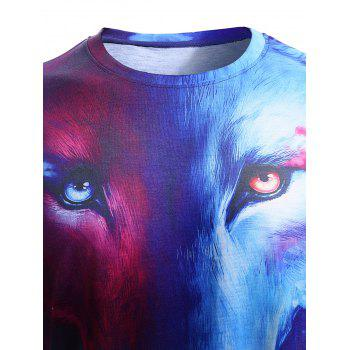 3D Starry Sky and Wolf Print Round Neck Short Sleeve Men's T-Shirt - L L