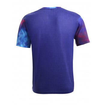 3D Starry Sky and Wolf Print Round Neck Short Sleeve Men's T-Shirt - COLORMIX M