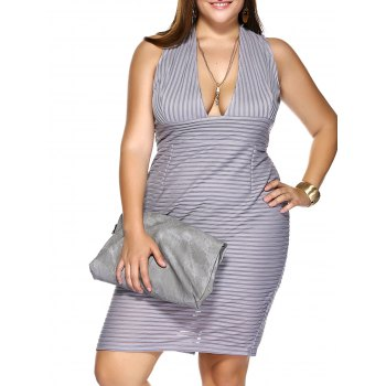 Plus Size Plunging Neck Striped Empire Waist Formal Dress