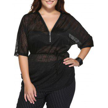 Stylish Plus Size V Neck Zippered Black T-Shirt