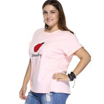 Casual Plus Size Strawberry Pattern Embroidered T-Shirt - LIGHT PINK 4XL