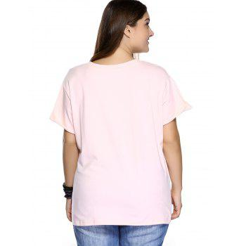 Casual Plus Size Strawberry Pattern Embroidered T-Shirt - LIGHT PINK LIGHT PINK