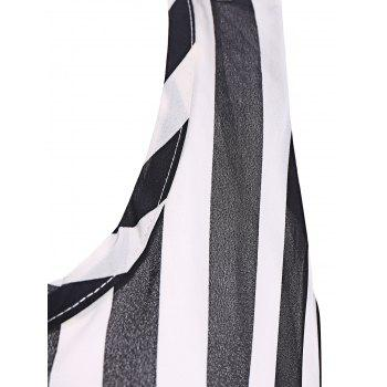Women's Stylish Scoop Neck Striped Backless Sleeveless Dress - ONE SIZE ONE SIZE