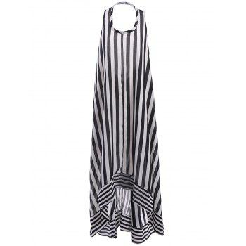 Women's Stylish Scoop Neck Striped Backless Sleeveless Dress