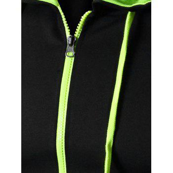 Color Block Letter Print Zip-Up Hooded Men's Waistcoat - GREEN GREEN