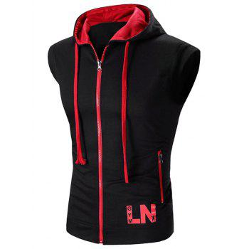 Color Block Letter Print Zip-Up Hooded Men's Waistcoat - RED RED