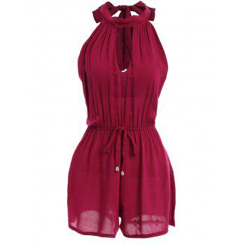 Chic Stand Collar Sleeveless Hollow Out Drawstring Wire Red Women's Romper