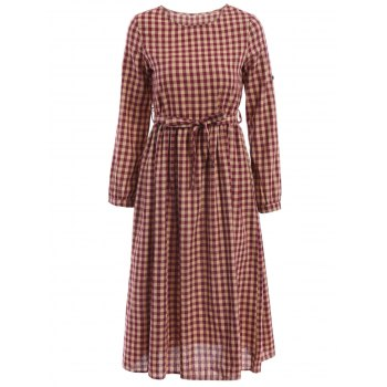 Vintage Jewel Neck Long Sleeve Women's Plaid Flare Dress