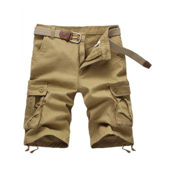 Buy Zipper Fly Solid Color Multi-Pockets Men's Cargo Shorts KHAKI