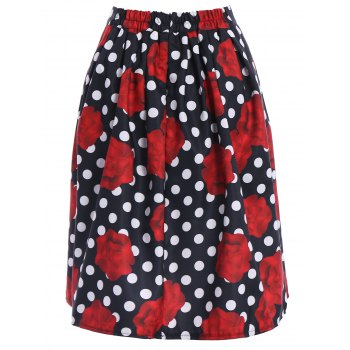 Ladylike High-Waisted A-Line Roses Print Women's Midi Skirt - M M