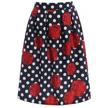 Ladylike High-Waisted A-Line Roses Print Women's Midi Skirt - BLACK AND WHITE AND RED M