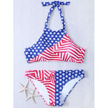 Halter Neck Flag Print Patriotic Swimwear Bikini