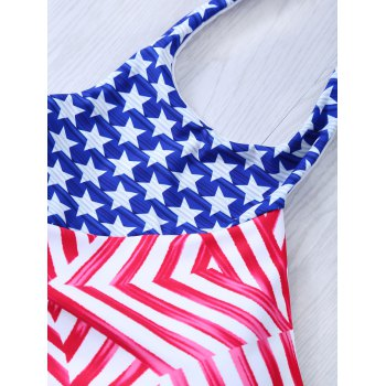 Halter Neck Flag Print Patriotic Swimwear Bikini - BLUE/RED 2XL