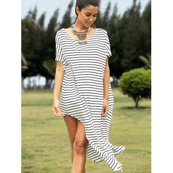 Casual Short Sleeve High Slit Striped Dress