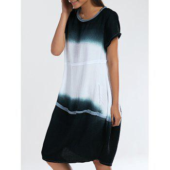 Loose Fitting Ombre Round Neck Women's Dress