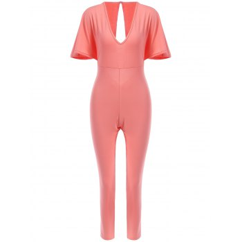 Sexy Women's Plunging Neck Open Back Short Sleeve Jumpsuit
