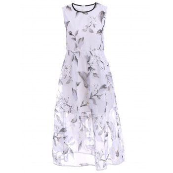 Sweet Jewel Neck Sleeveless Women's Organza Floral Dress