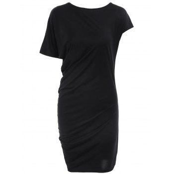 Elegant Round Collar Asymmetric Sleeve Solid Color Dress For Women