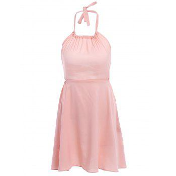 Stylish Halter Neck Sleeveless Backless Pink Women's Dress