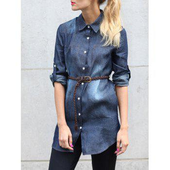 Buy Stylish Long Sleeve Shirt Collar Single-Breasted Denim Women's BLUE