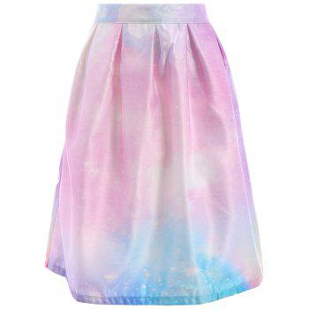 Chic Starry Sky Printed High Waist Pleated Trippy Skirt For Women - M M