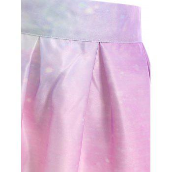 Chic Starry Sky Printed High Waist Pleated Trippy Skirt For Women - COLORMIX COLORMIX