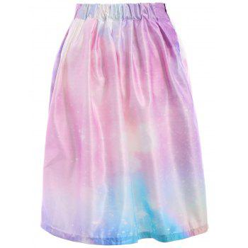 Chic Starry Sky Printed High Waist Pleated Trippy Skirt For Women