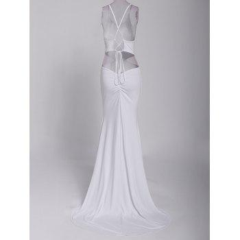 Alluring Sleeveless Jewel Neck Solid Color Backless Criss-Cross Women's Prom Dress - WHITE S