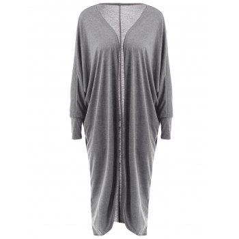 Stylish Long Sleeve Collarless Loose-Fitting Solid Color Women's Long Cardigan