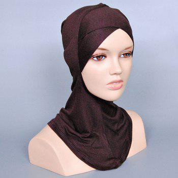Simple Women's Various Color Islamic Full Cover Inner Hijab Caps Scarf - DARK COFFEE
