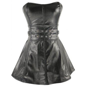Short Strapless Belts Design Ruffles Corset Dress - SILVER AND BLACK 2XL