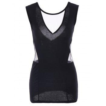 Women's Alluring Scoop Neck Backless Sleeveless Black Bodycon Dress